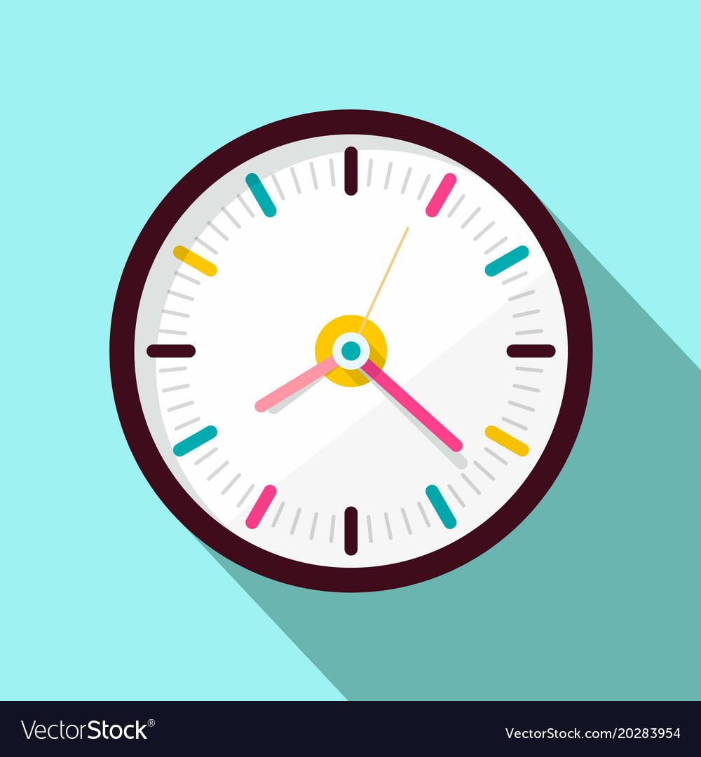 Clock icon flat design on blue background