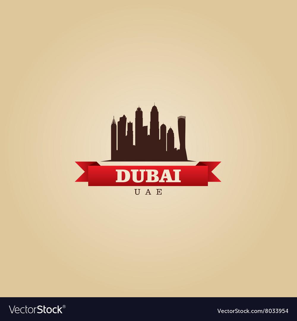 Dubai UAE city symbol silhouette