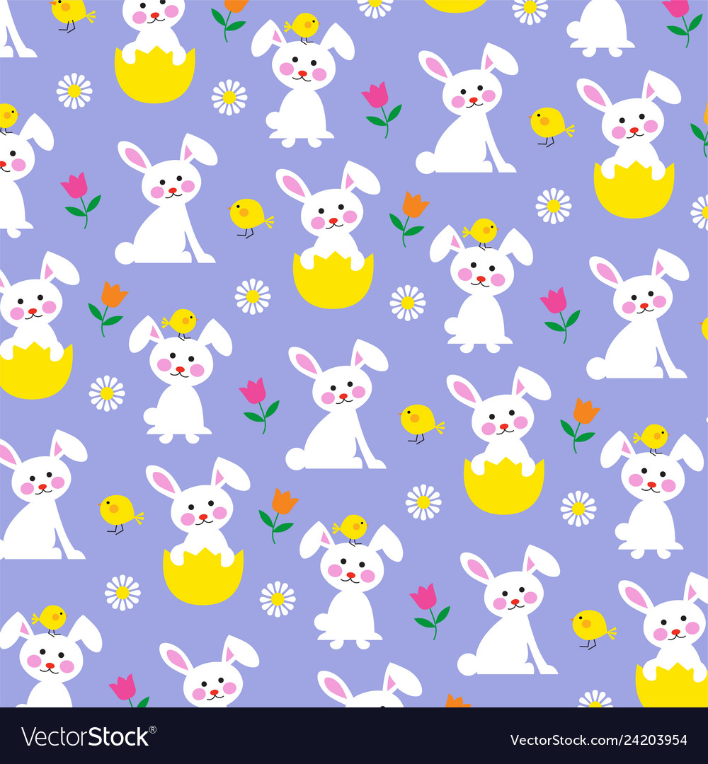 Easter bunny and chick pattern on purple