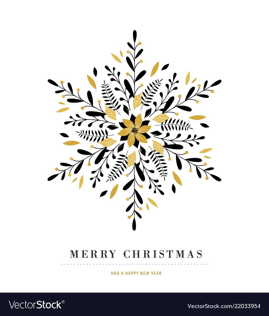 Elegant snowflake poster winter icon merry