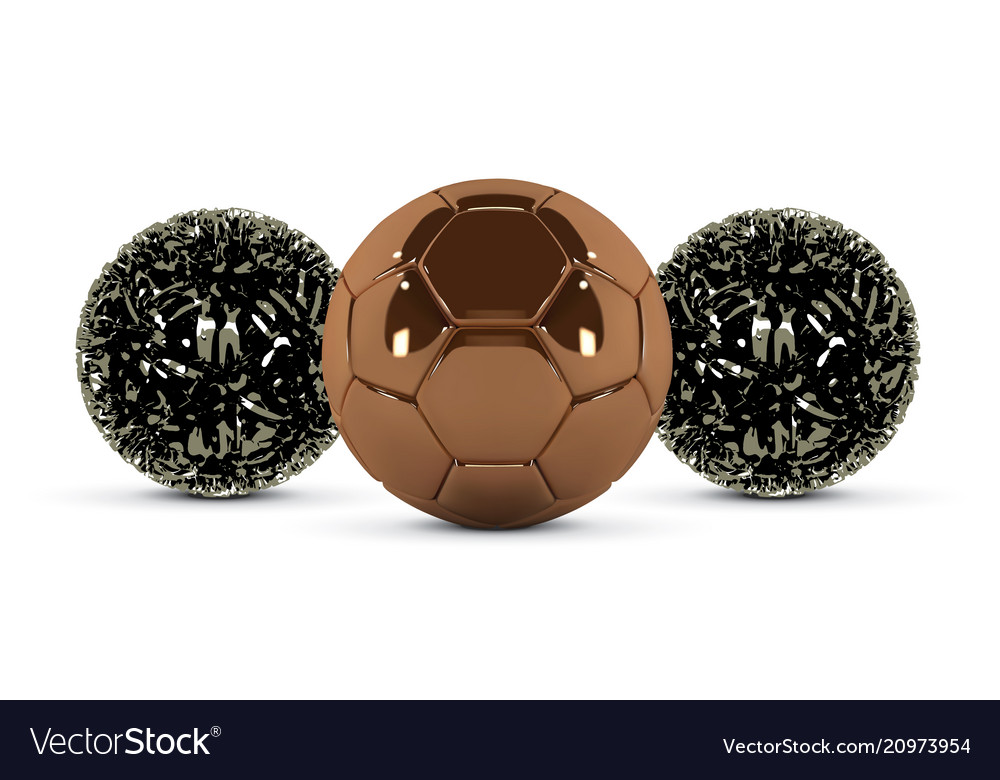 Gold soccer ball and abstract metal ball on white