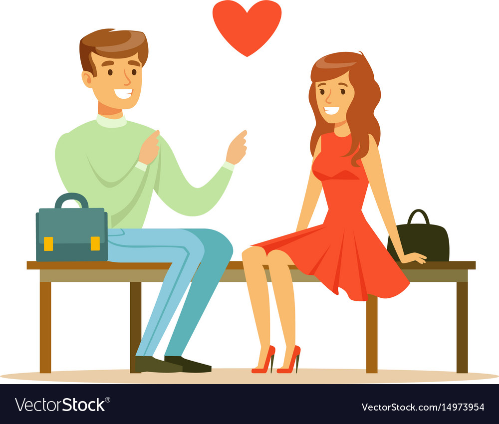 Loving couple sitting on a park bench colorful