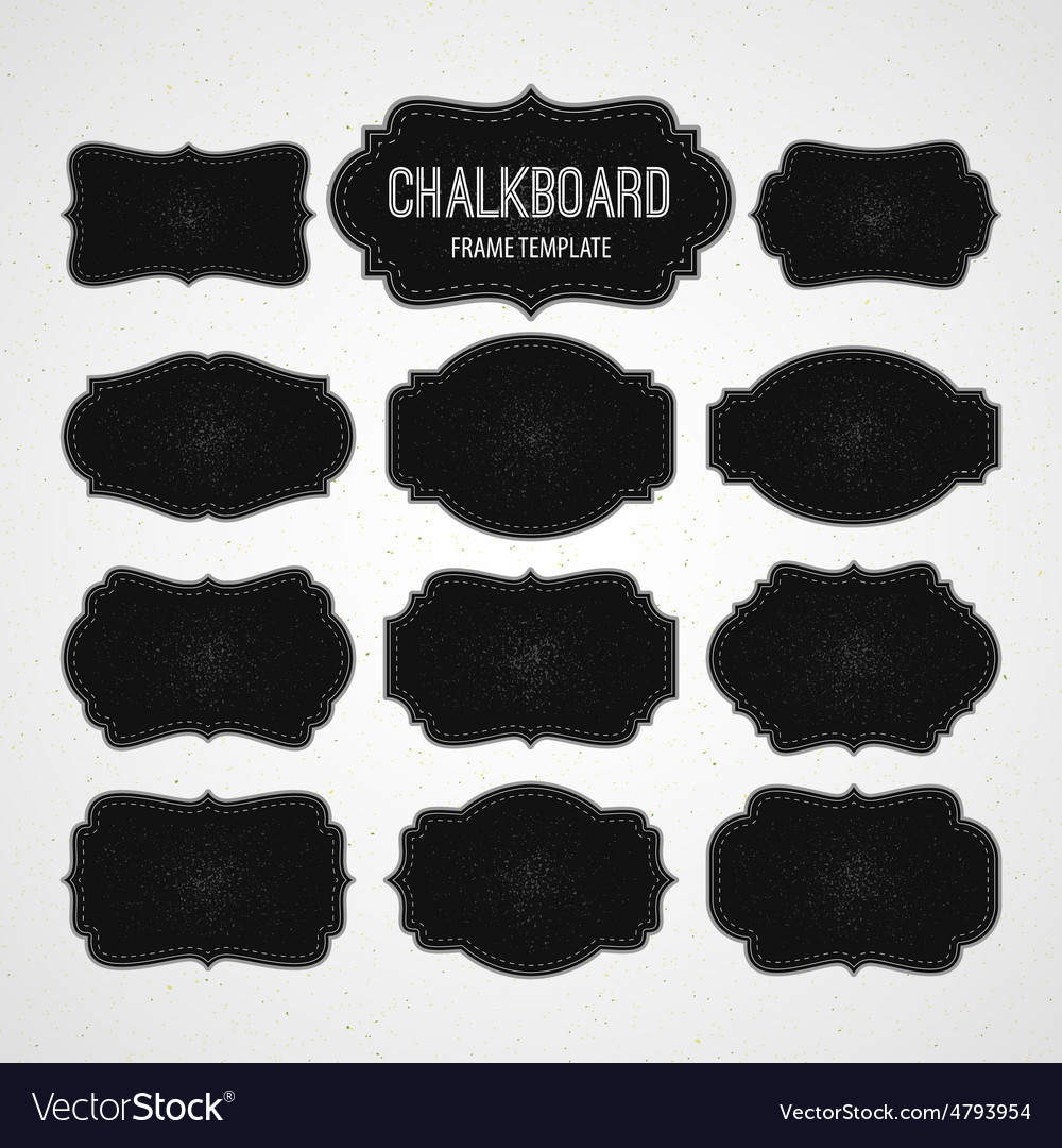 Set of Chalkboard Frames and Labels Royalty Free Vector