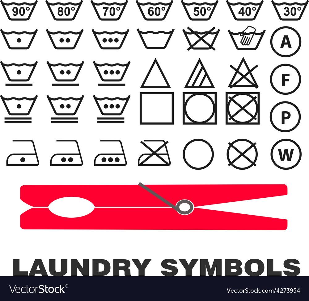 Wash Care Symbols Royalty Free Vector Image Vectorstock
