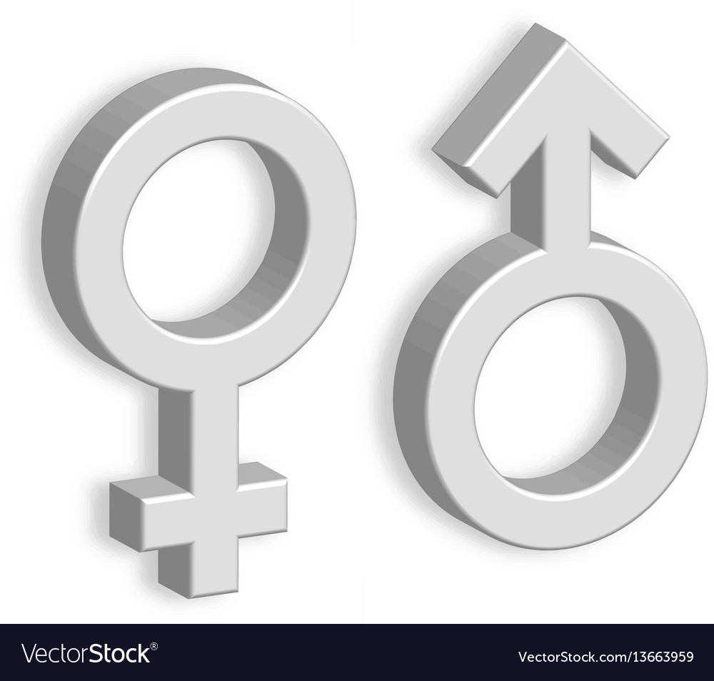 3d male and female symbols with shadow on the wall