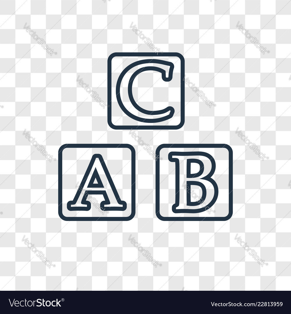 Abc concept linear icon isolated on transparent