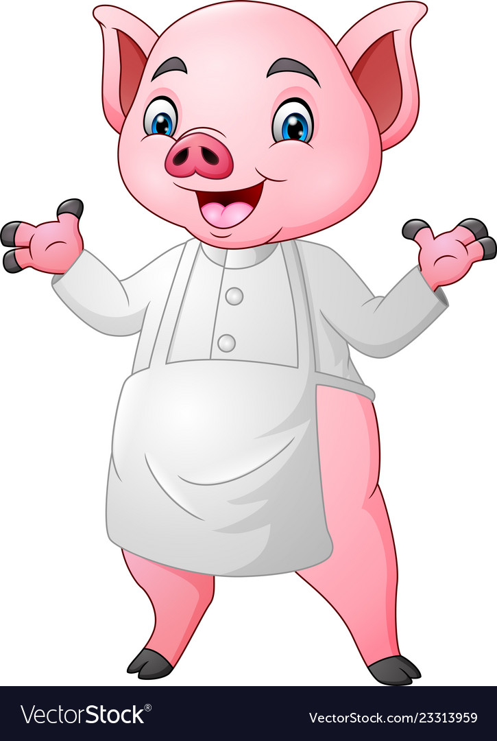 Cartoon chef pig cartoon waving hand