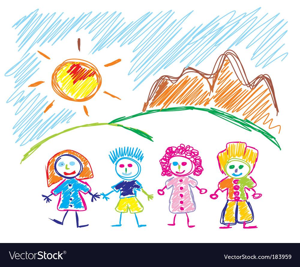 Children sketch vector image