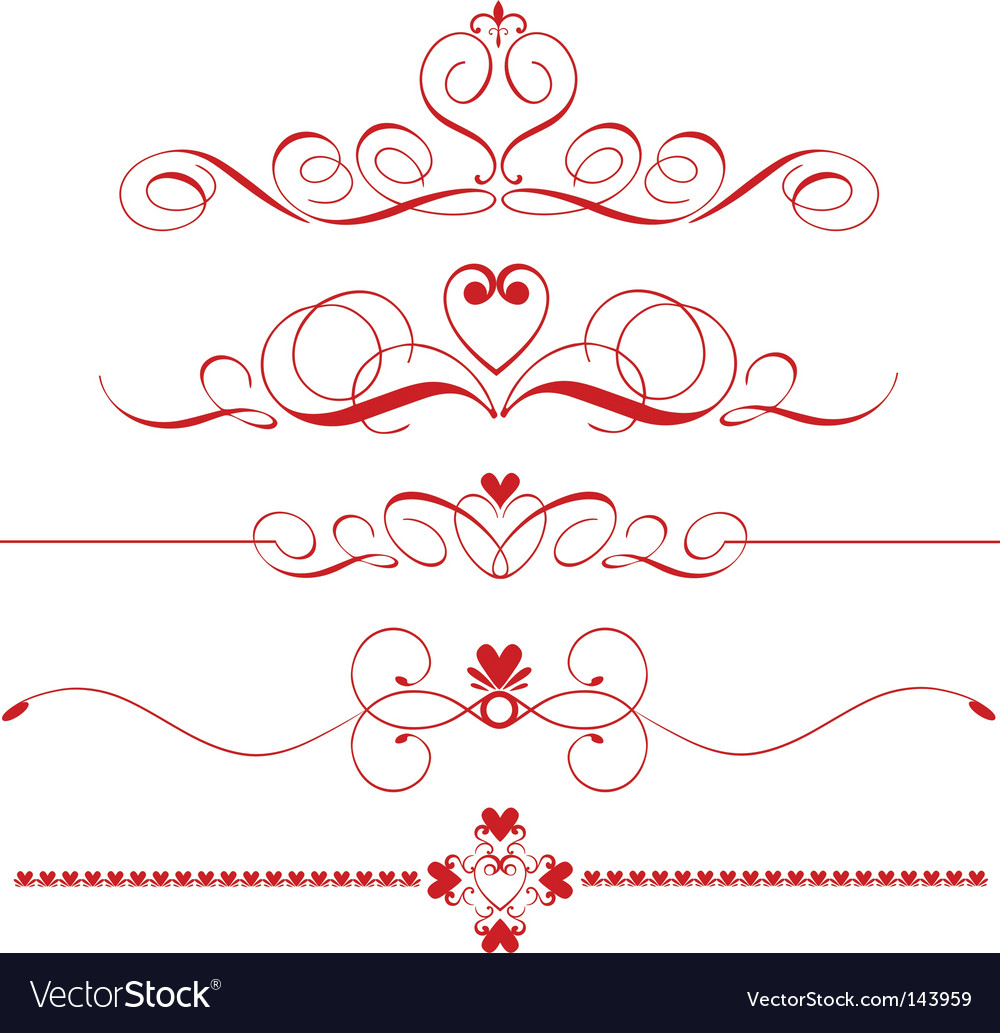 Decorative heart dividers vector image
