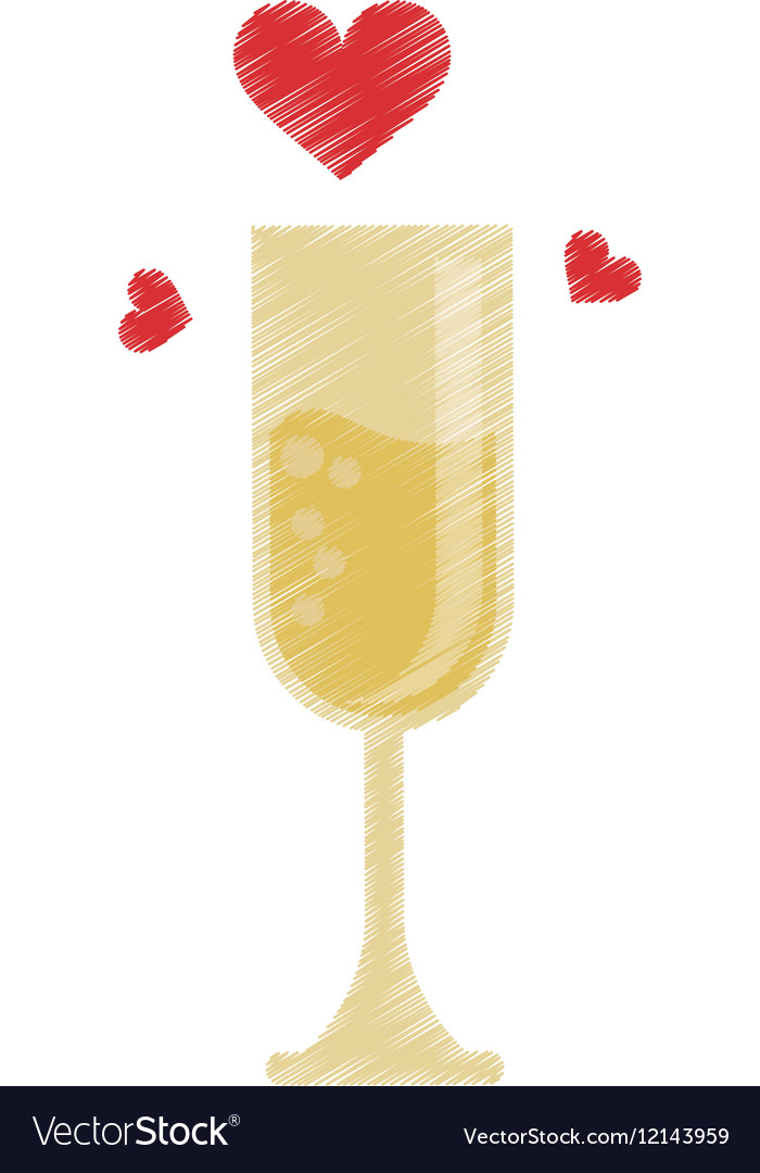 Drawing cup glass champagne love celebration vector image