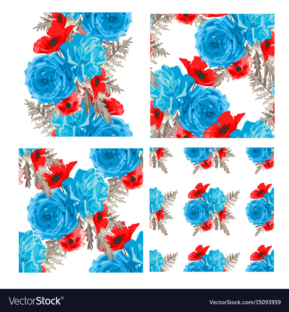 Floral seamless patterns set vector image