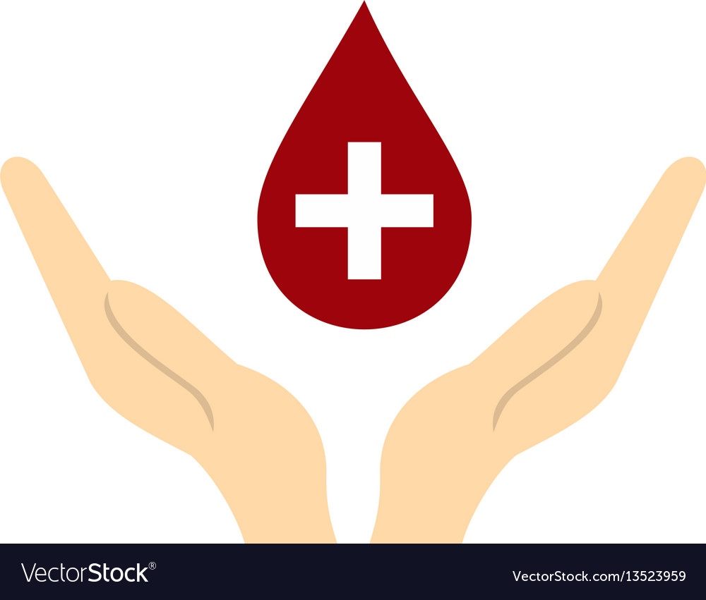 Hands holding blood drop icon flat style