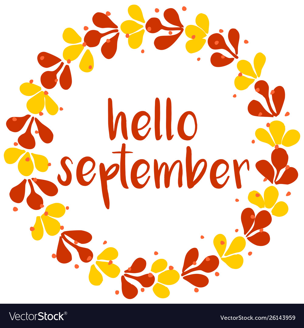 Hello september wreath orange red and yellow card