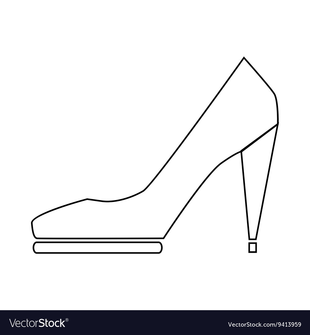 High heel shoe icon in outline style