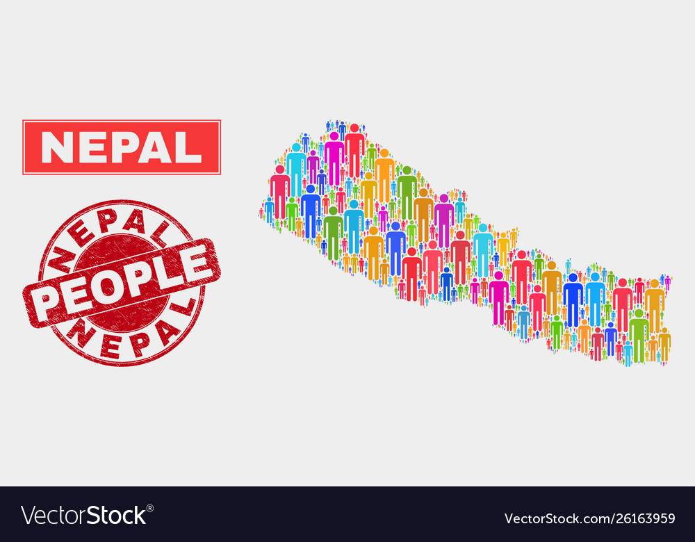 Nepal map population demographics and corroded