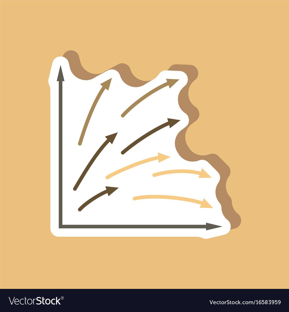 Paper sticker on stylish background arrow chart