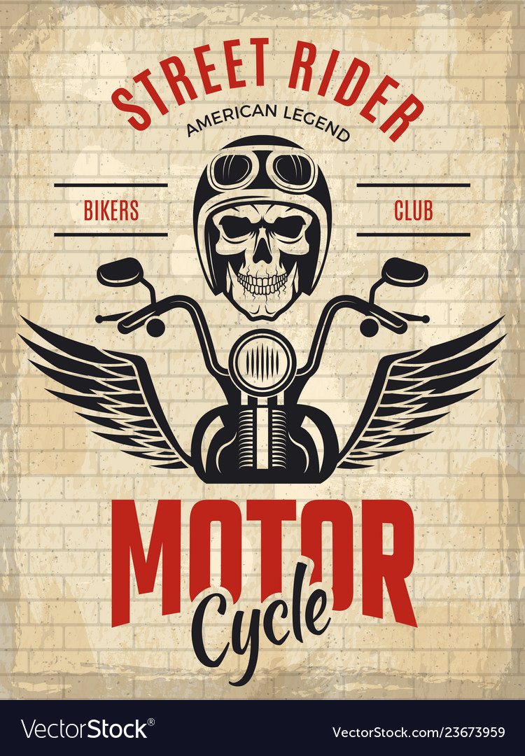 Retro poster bikers skull motorcycle gang rider vector