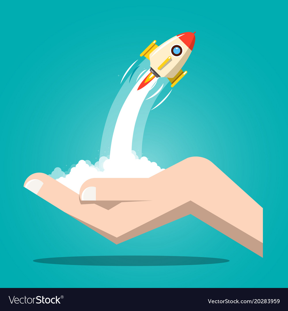 Rocket launch with human hand business startup vector image