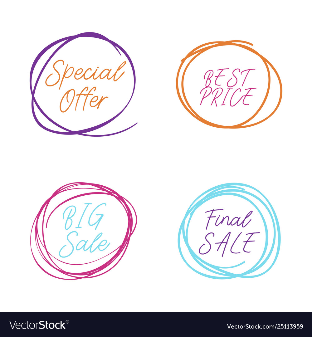 Scribble circle drawn in scetch special offer and