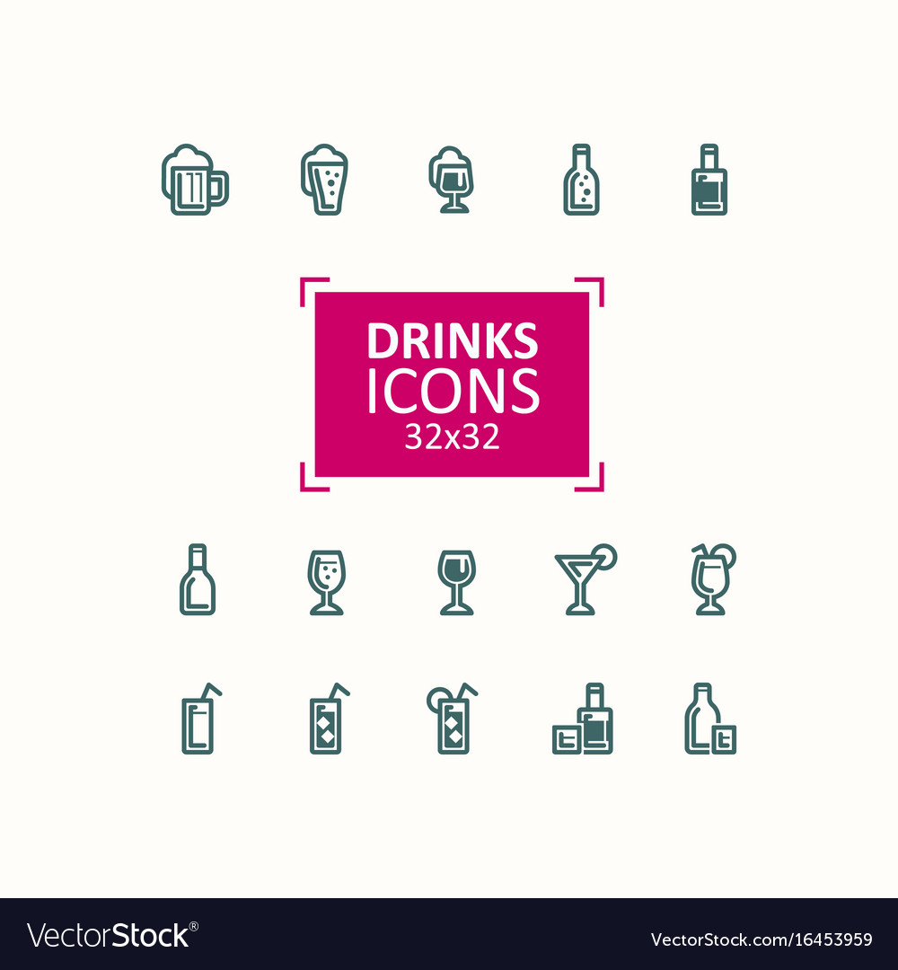 Set of of icons of drinks