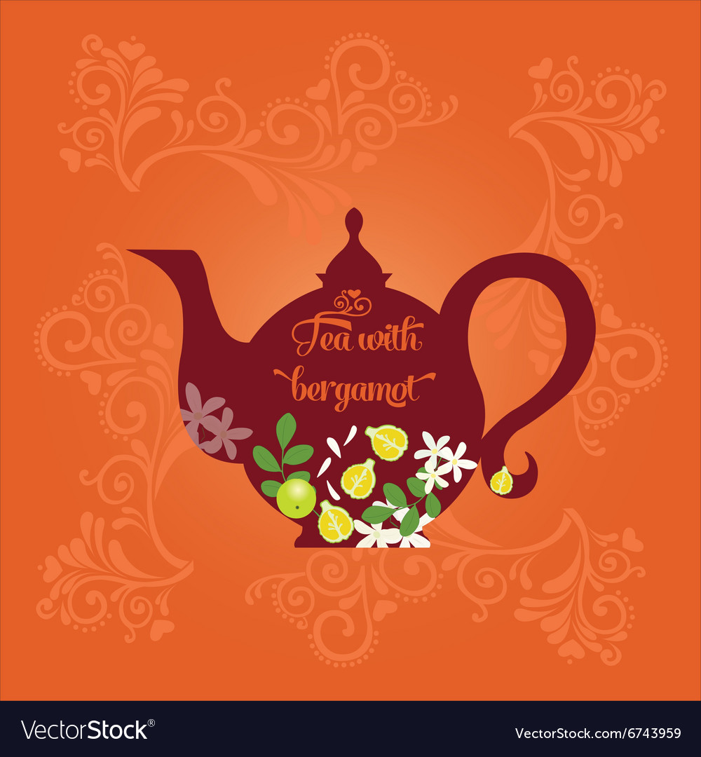 Teapot with citrus vector image