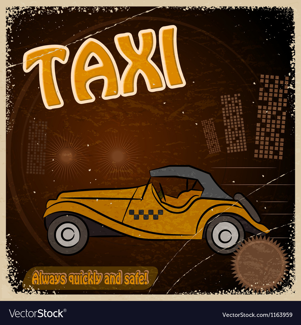 Vintage Postcard with the image taxis vector image