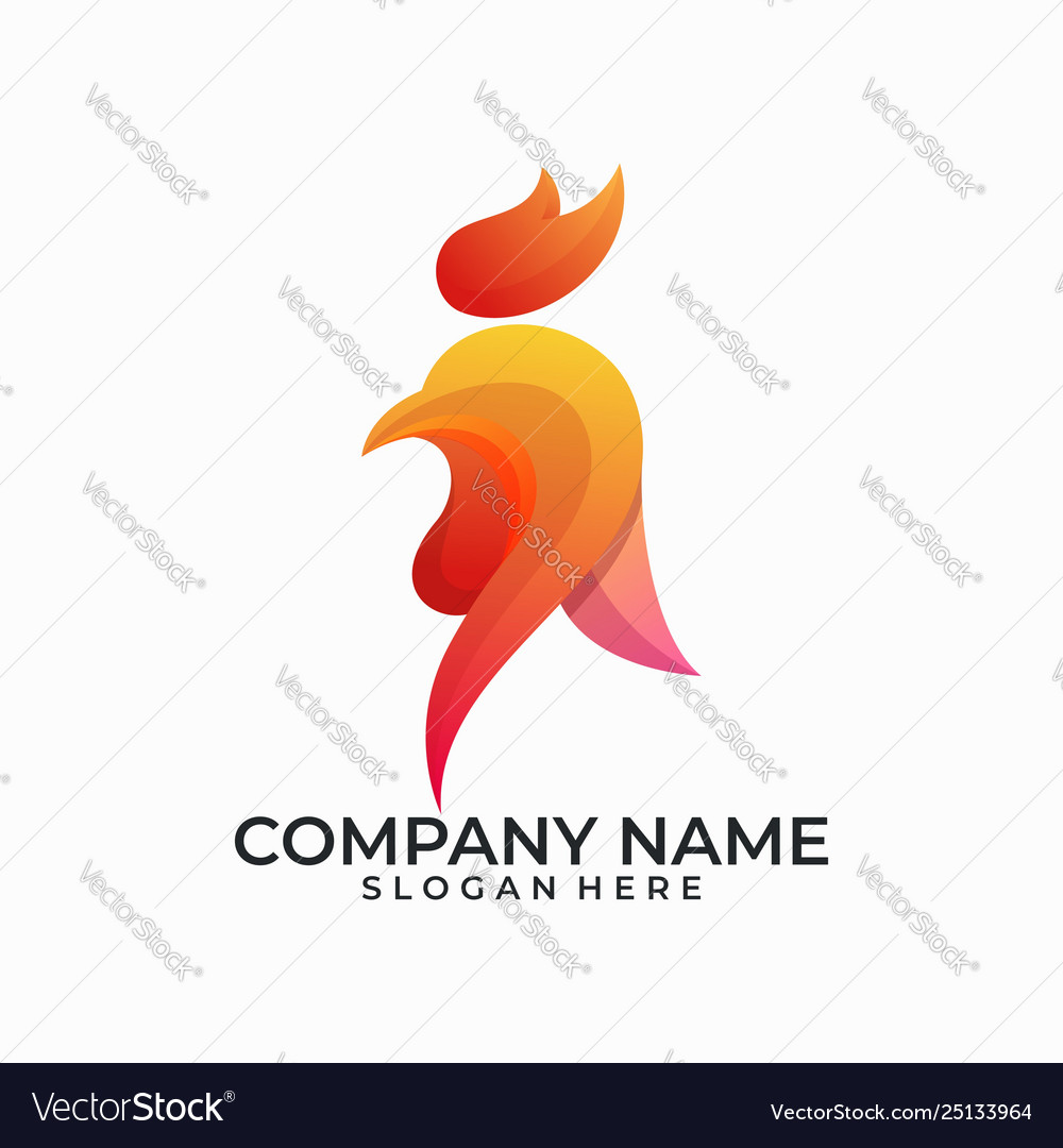 Abstract head rooster design template