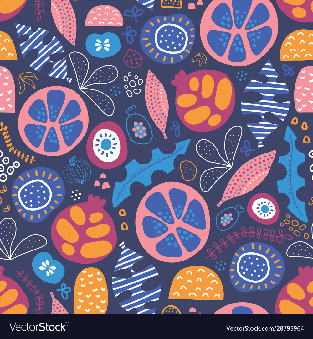 Abstract tropical floral fruit seamless