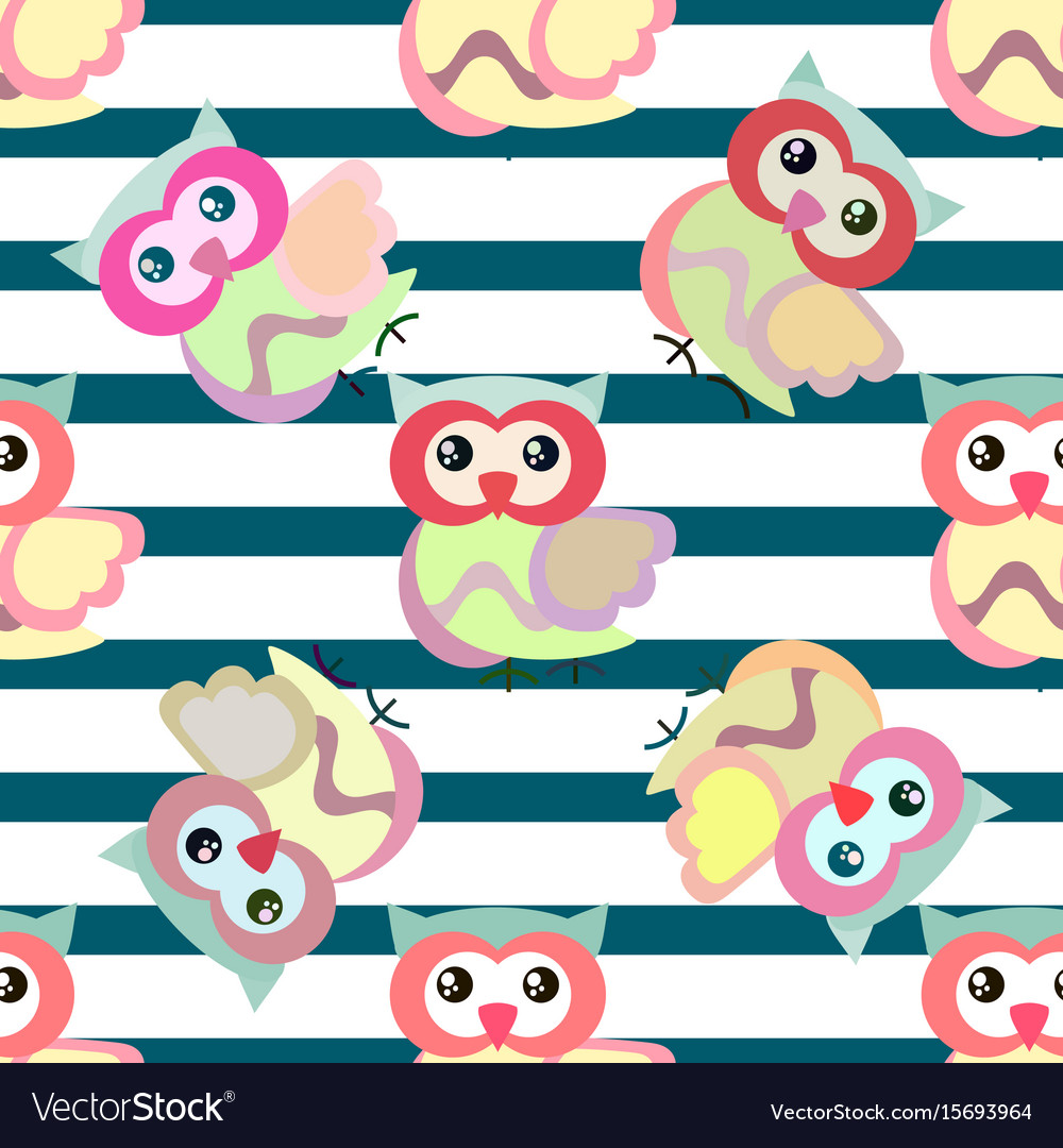 Cute cartoon seamless pattern with stripes and