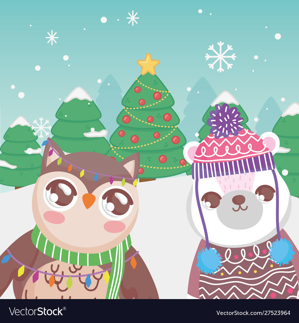 Cute polar bear and owl trees snow merry christmas