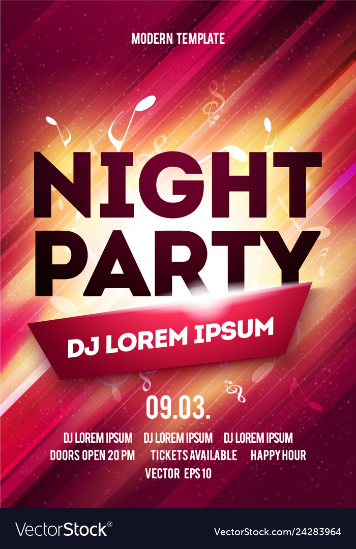 Disco night party poster template