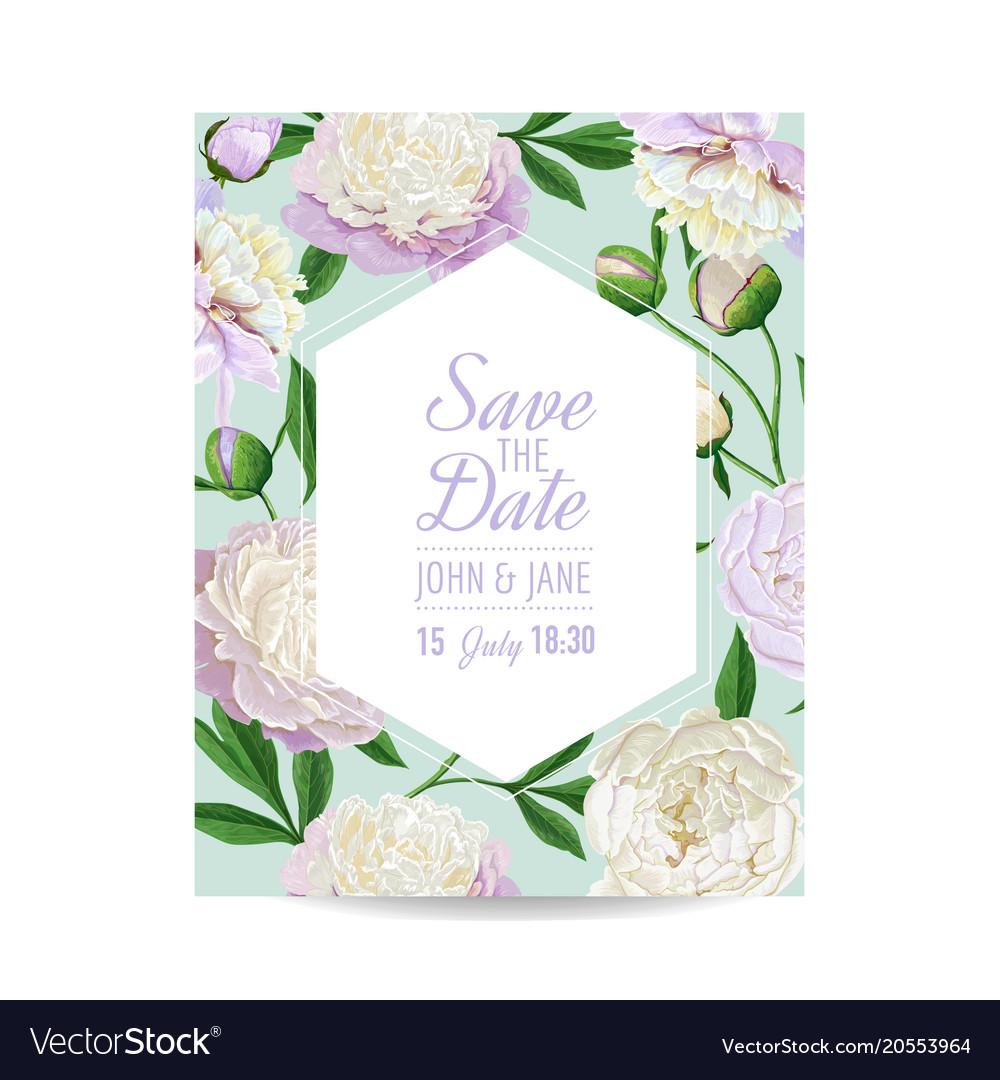 Floral wedding invitation white peony flowers