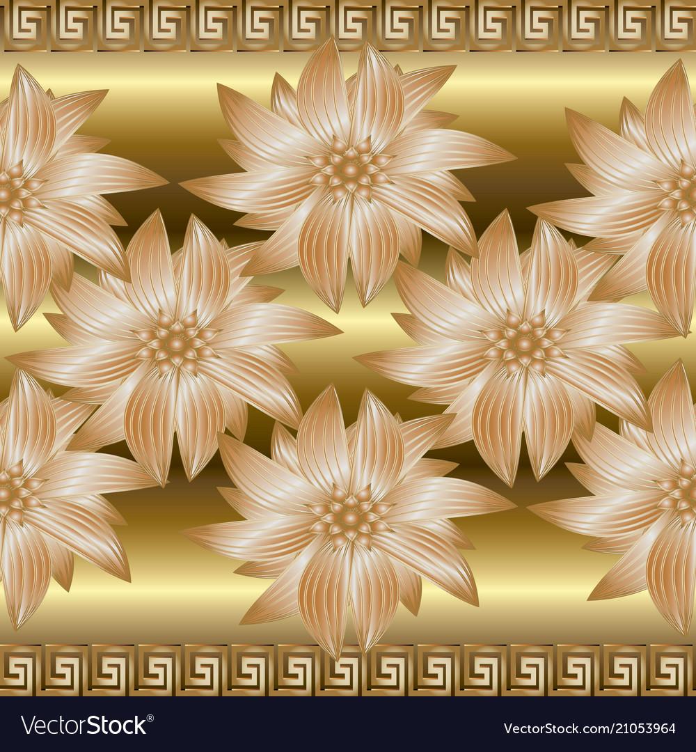 Gold 3d Floral Seamless Border Pattern Greek Vector Image