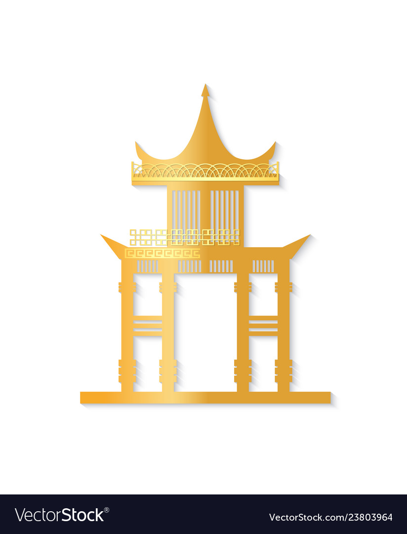 Golden japan gate with decorated roof