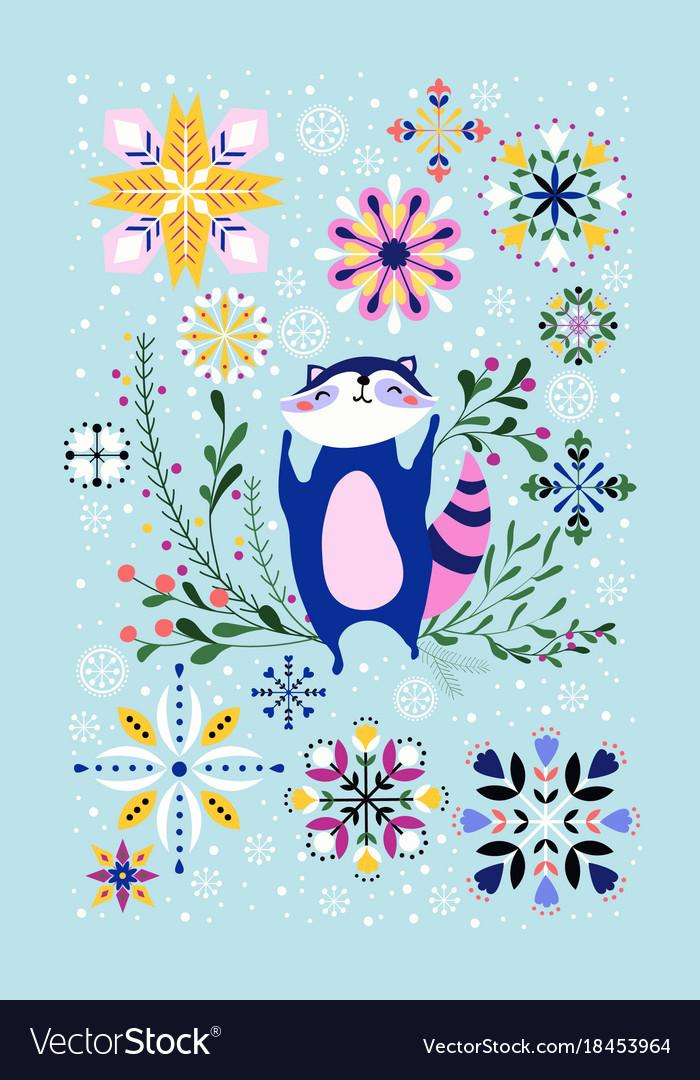 Happy raccoon year vector image