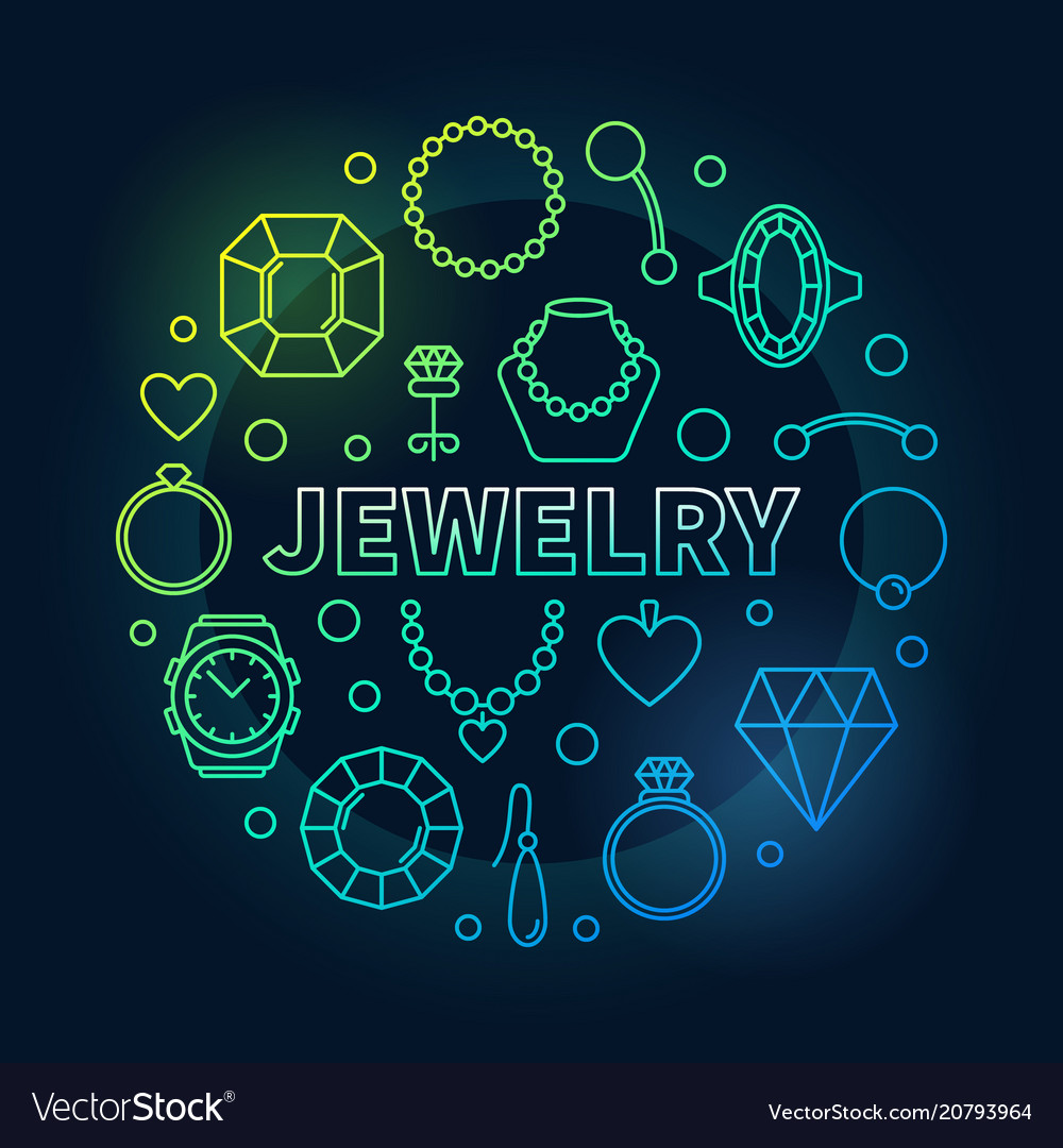 Jewelry colorful round outline