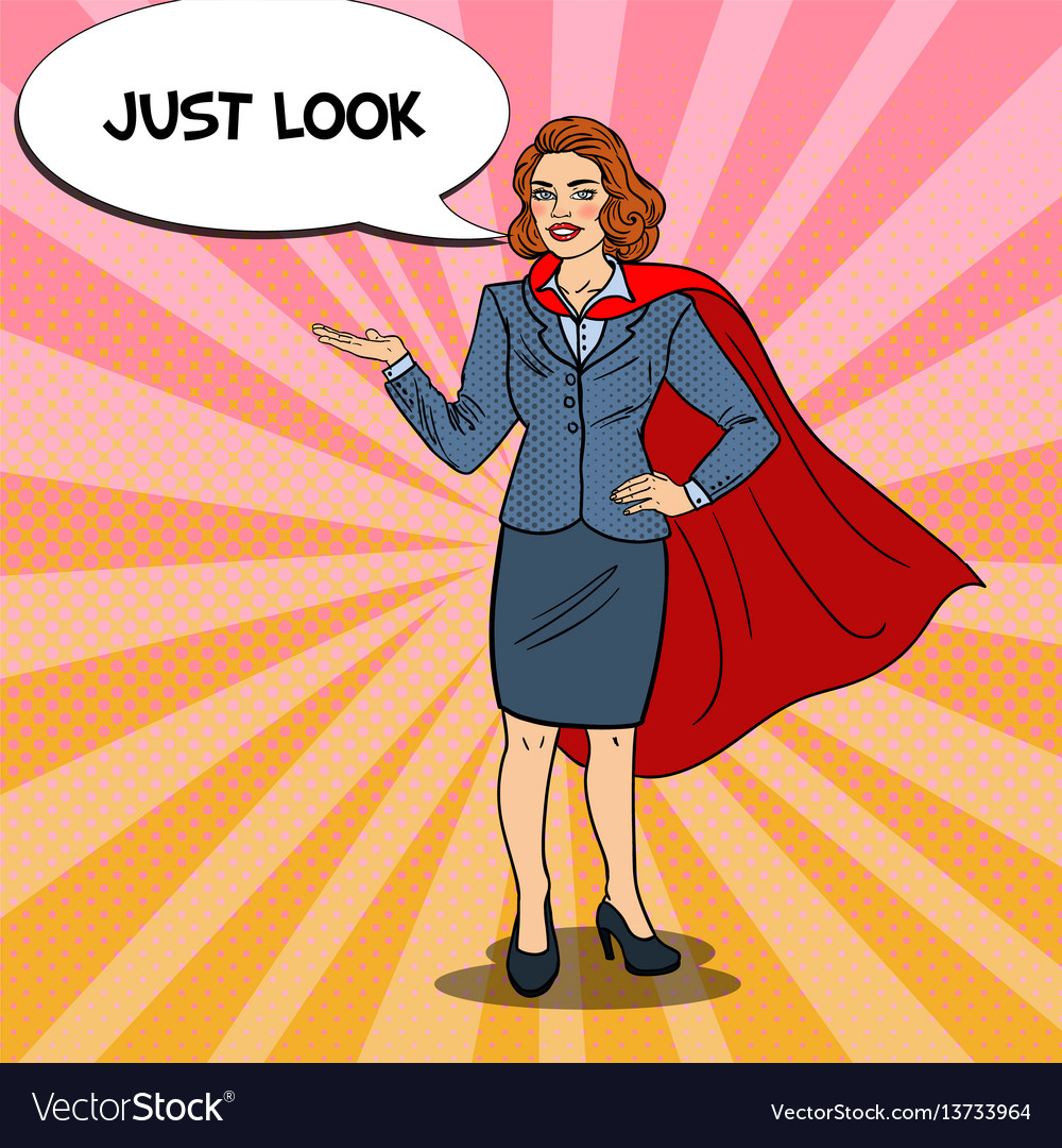Pop art smiling super business woman in red cape