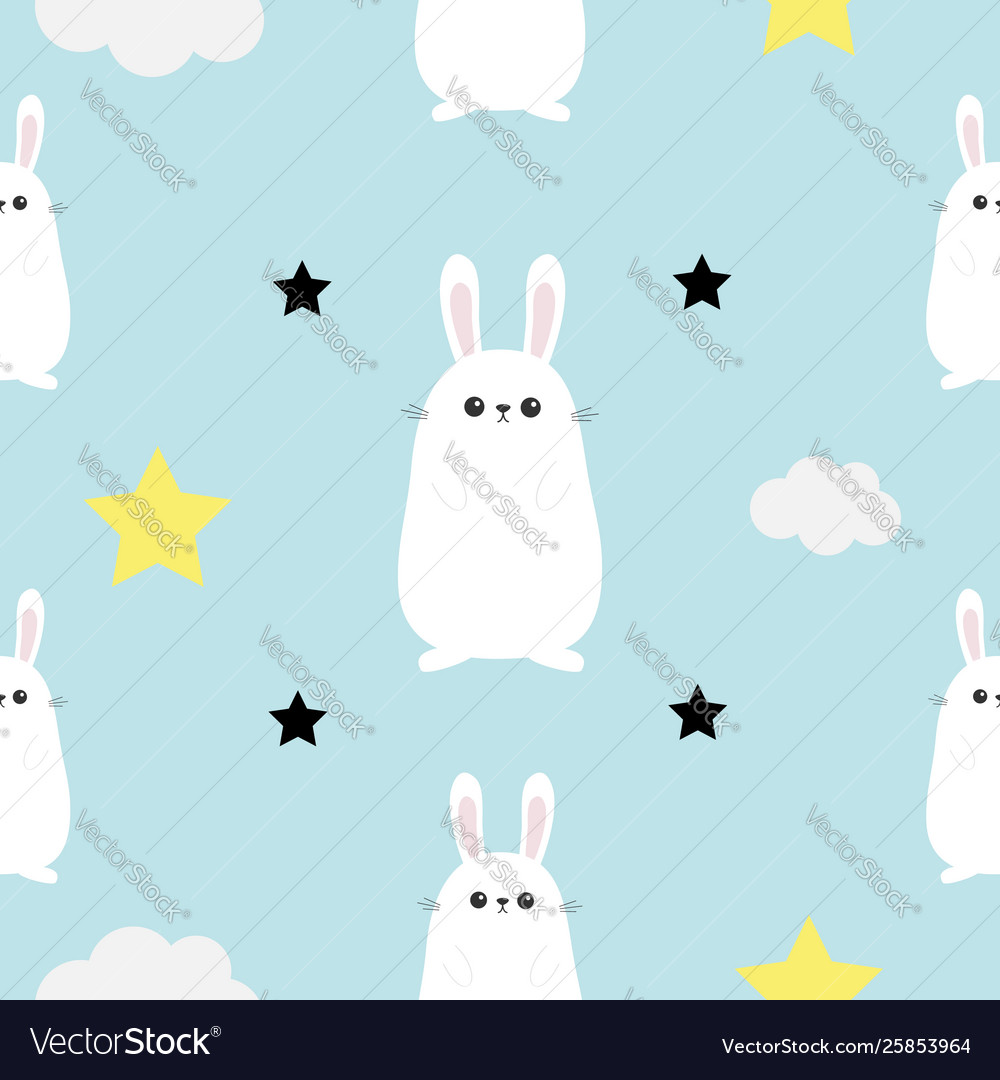 Rabbit hare head hands cloud star shape cute