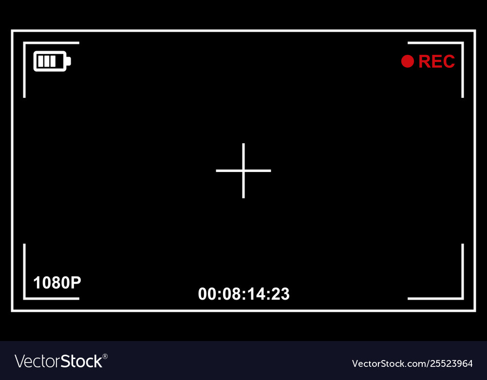 Record video camera viewfinder template with black