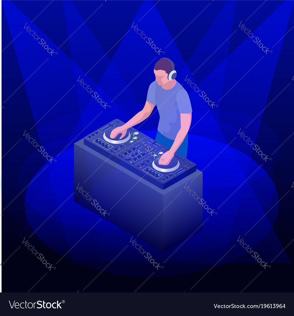 Young hipster dj mixing music on the turntables