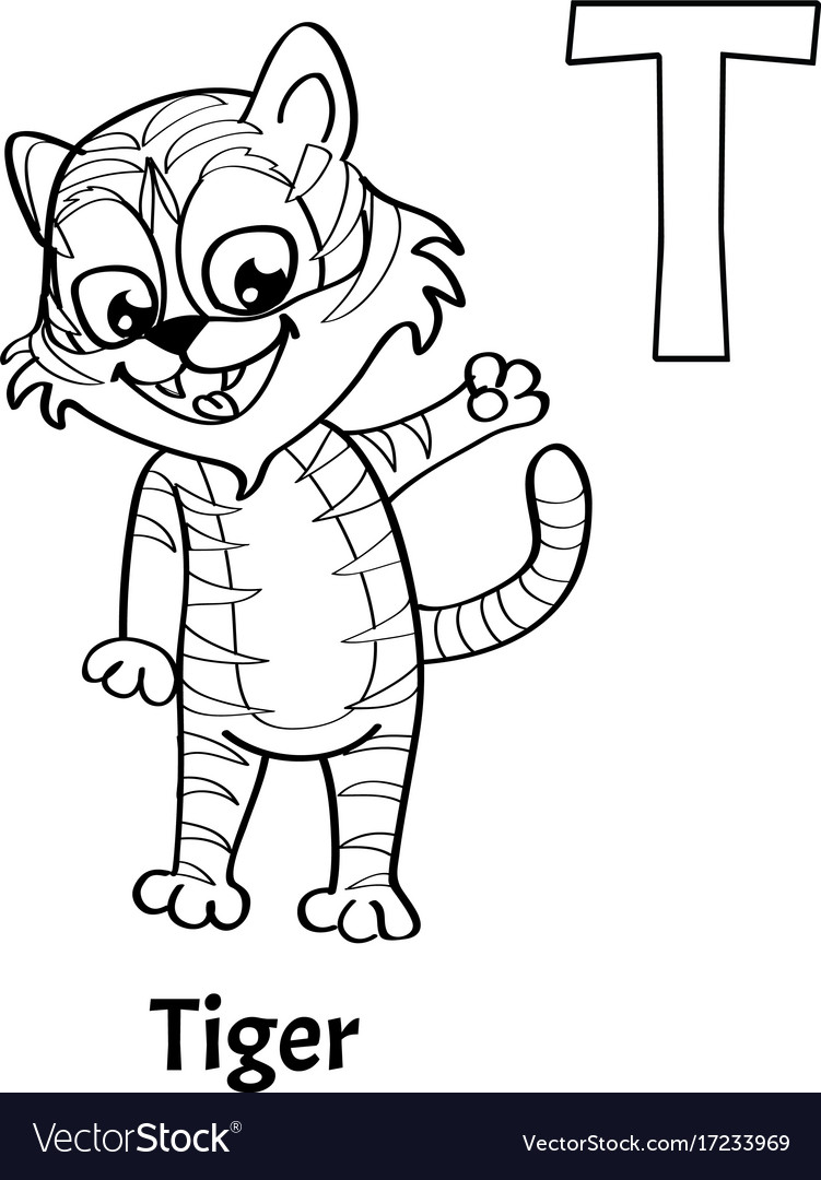 Alphabet letter t coloring page tiger Royalty Free Vector