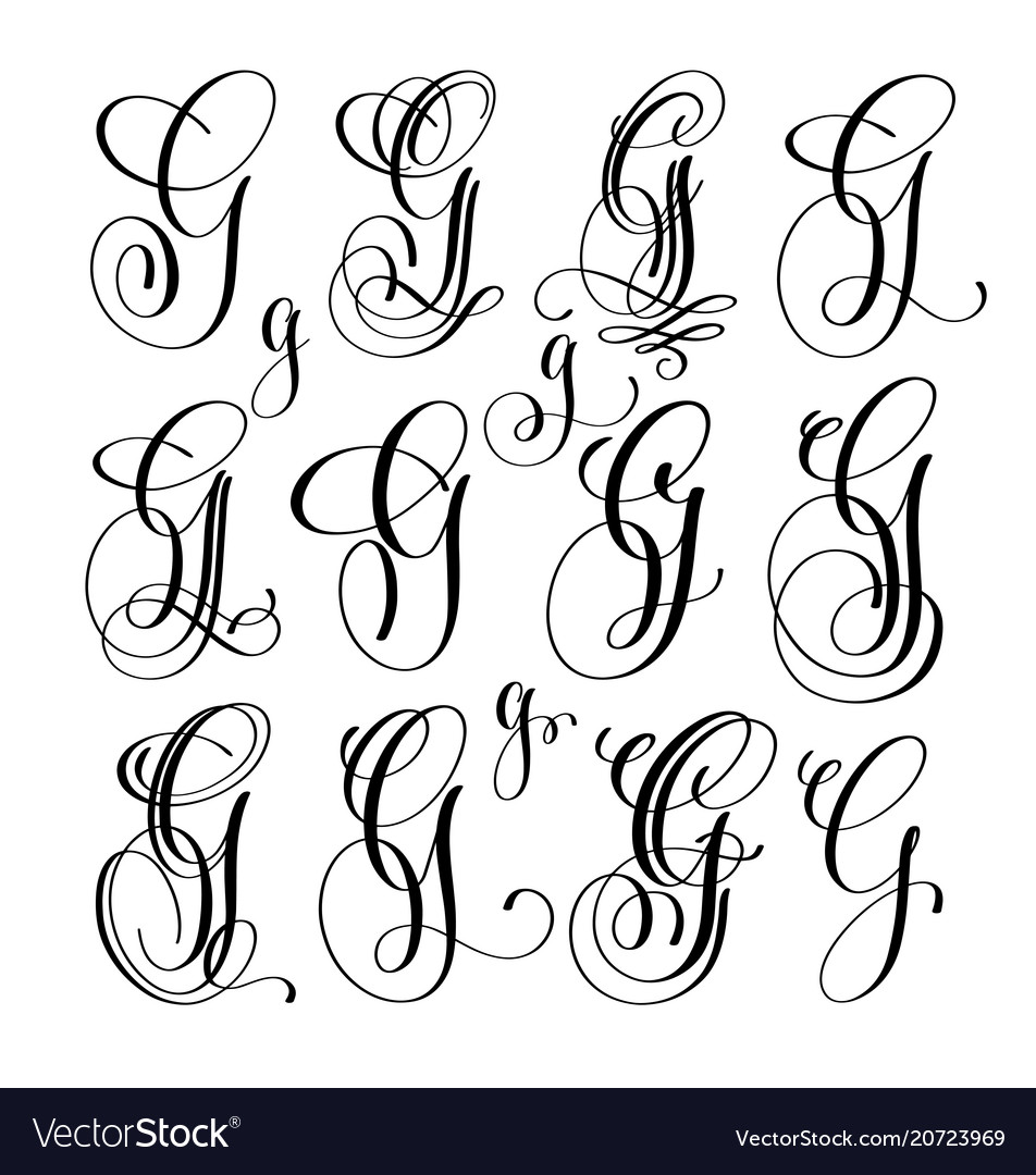 Calligraphy lettering script font g set hand