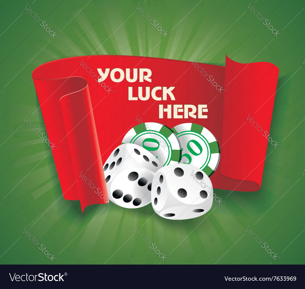 Casino background with chips craps and advertising