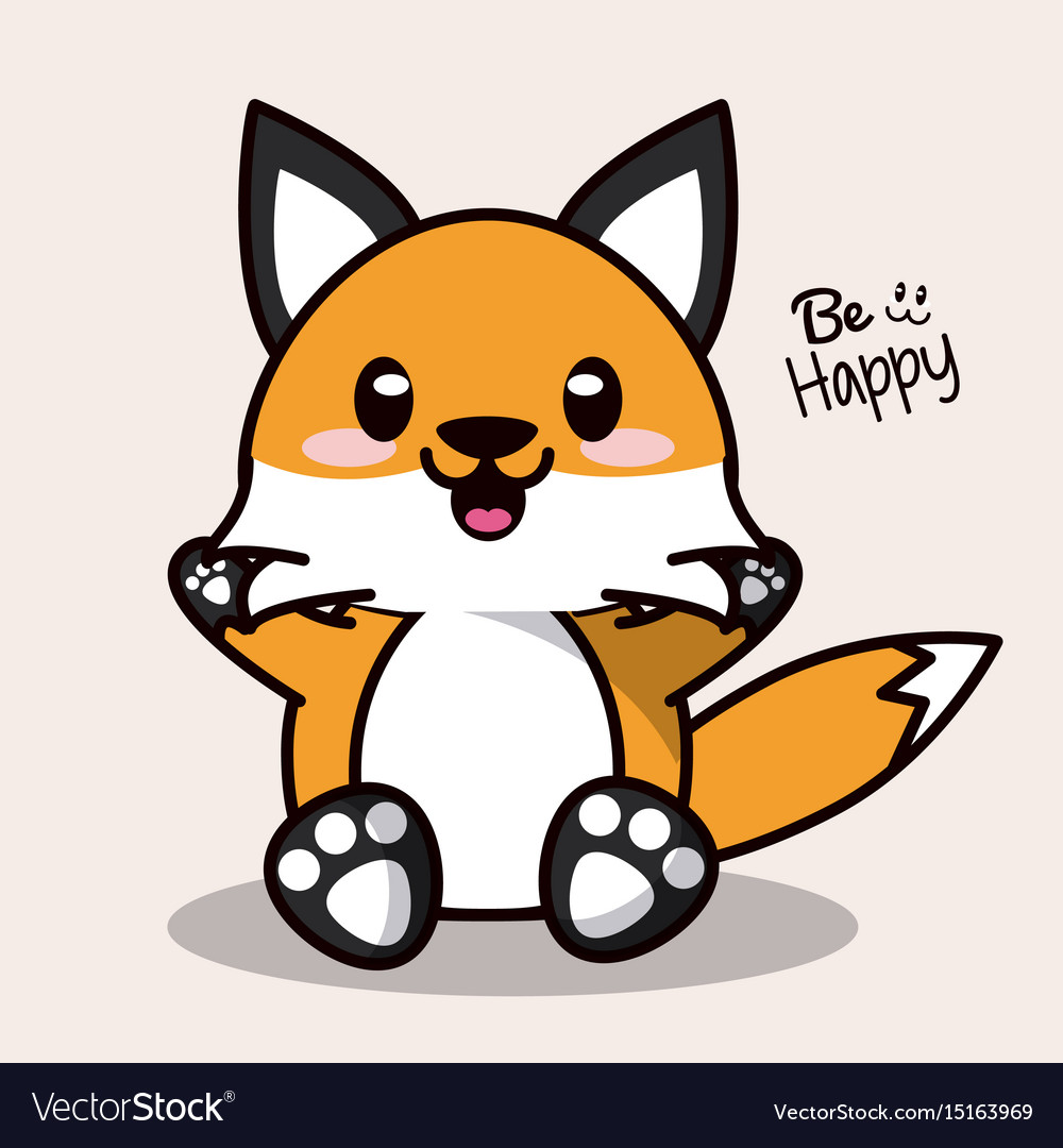 Color Background With Cute Kawaii Animal Fox Vector Image