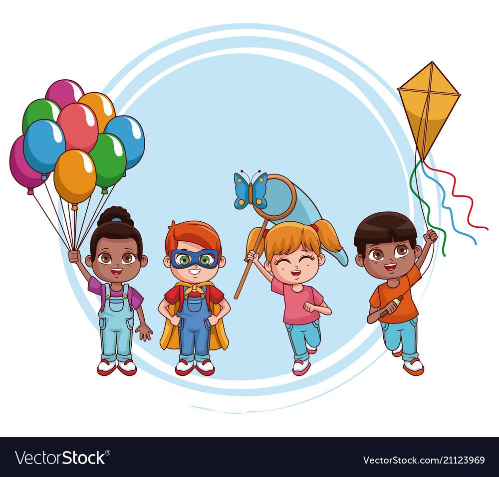 Cute Kids Cartoons Royalty Free Vector Image Vectorstock