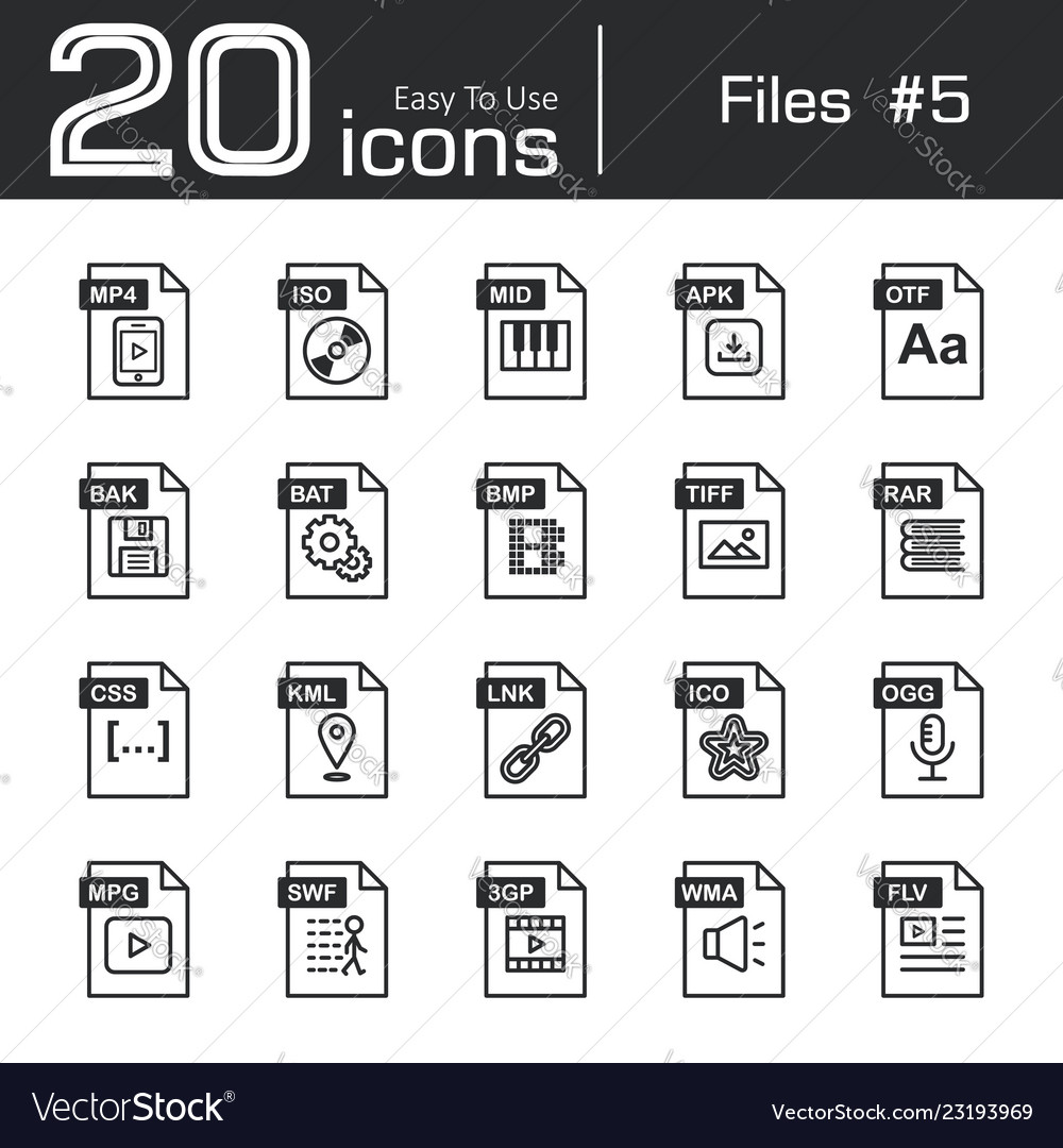 Files icon set 5