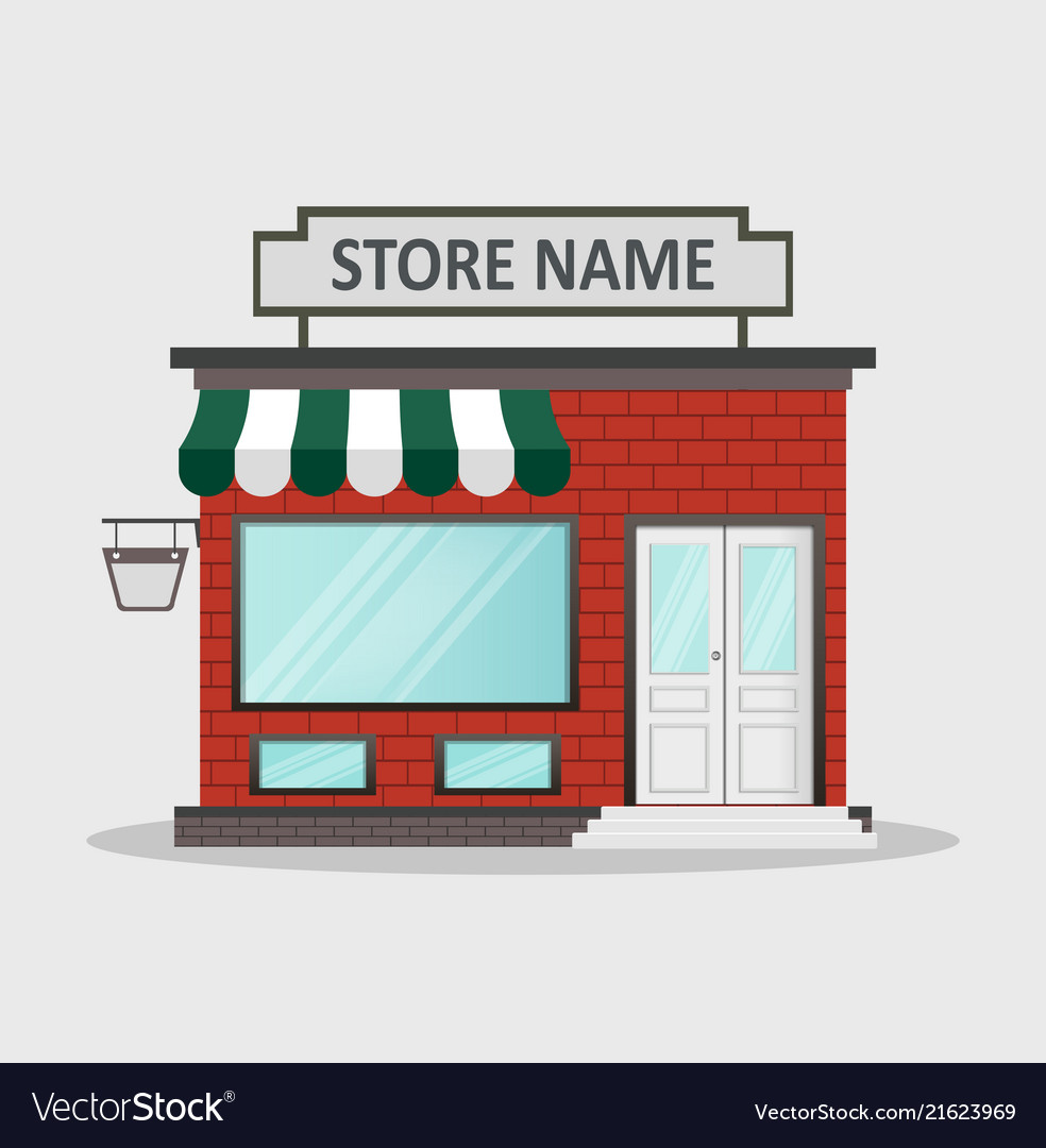 Flat design store front with place for name