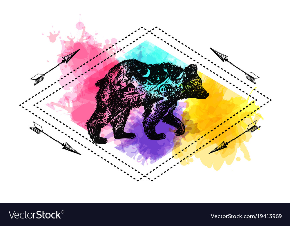 Hand drawn bear with double