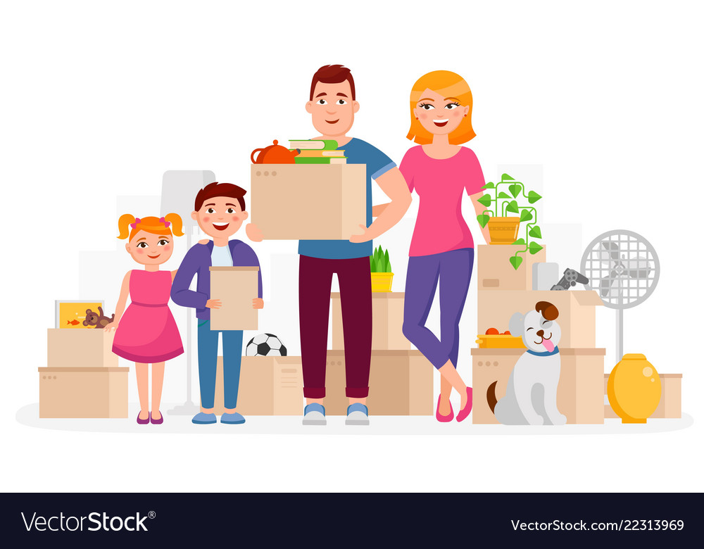 Happy family move into new home place flat