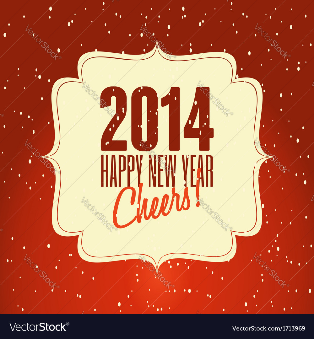 Happy new year 2014 vintage style greeting card vector image m4hsunfo